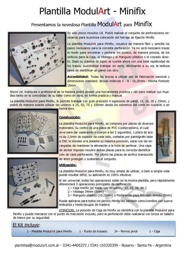 Plantilla modulart minifix - para colocación de conjunto minifix