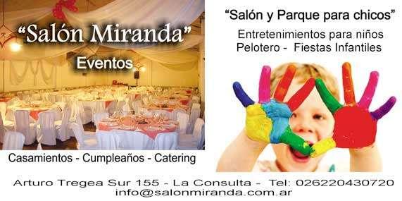 """""""salón miranda"""" eventos.  fiestas infantiles, parque y entretenimientos para chicos.  catering, casamientos, bautismos, cumpleaños."""