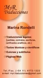 Traductora pública en idioma inglés matriculada marina rondelli