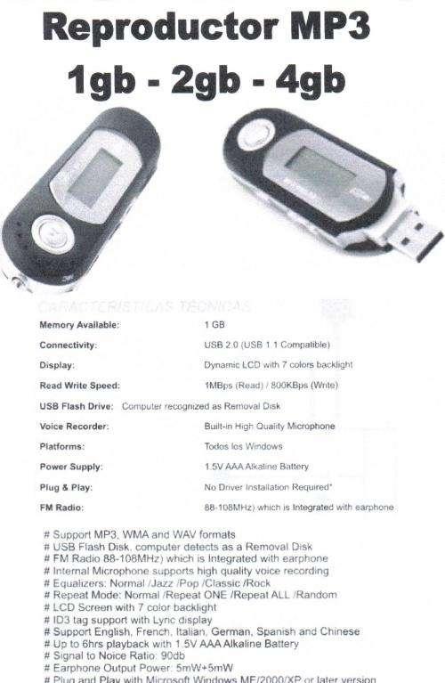 Mp3 mp4 mp5 memorias lcd iphone pendrives