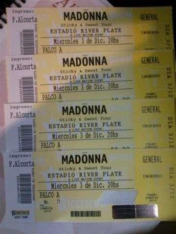 Vendo 2 entradas para recital madonna -3 diciembre