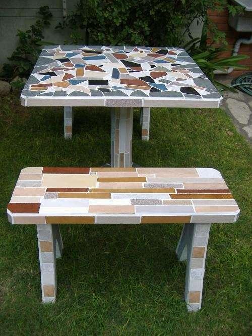 Mesas de jardin revestidas