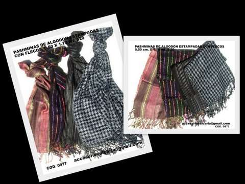 Fotos de Pashminas de algodón lisas y estampadas con flecos para revendedores!!! 2