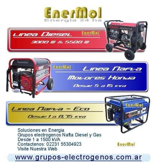 Grupo electrogeno gama diesel nafta gas