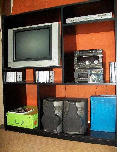 Modular tv dvd y audio 125*138*45* fresno negro melamina 18