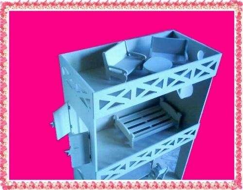 Casa barbie con terraza para muñecas