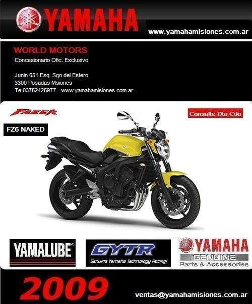 Yamaha fazer fz6 naked 2009-0km- importantes descuento contado, argentina, misiones,