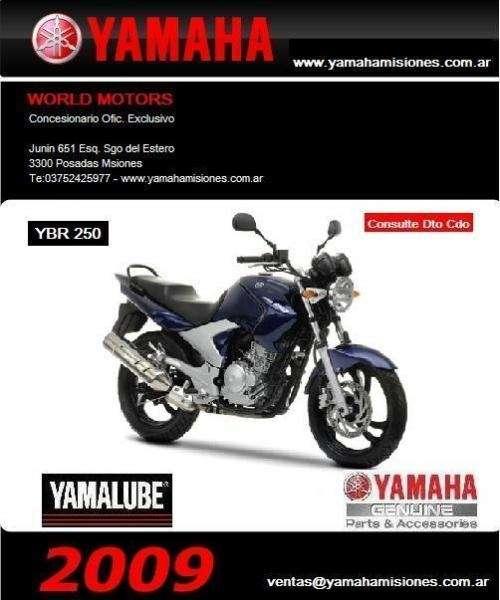 Yamaha ybr 250 2009-0km- importantes descuento contado, argentina, misiones, chaco, santa fe, corrientes, formosa, entre rios