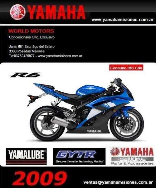 Yamaha yzf r6 2009-0km- importantes descuento contado, argentina, misiones, chaco, santa fe, entre rios, corrientes