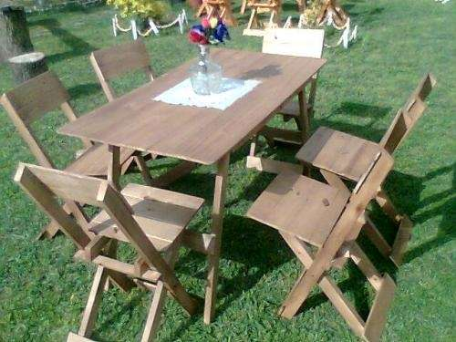 Juego de mesa y 6 sillas plegables super oferta