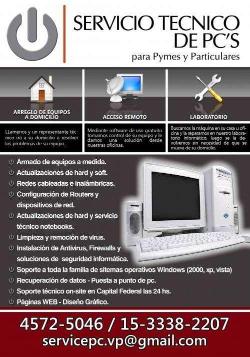 Servicio tecnico de pc's a domicilio - pymes y particulares