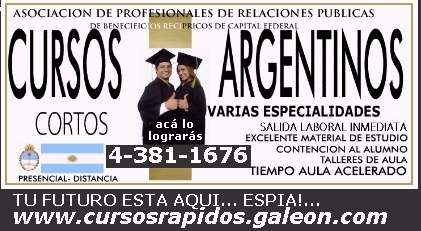 Cursos argentinos cortos. serios. salida laboral inmediata. lee.