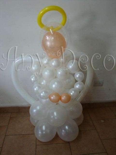 Comunion decoracion con globos, centros de mesa, souvenirs