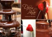 Catarata de chocolate fondue - dulce de leche - salsas