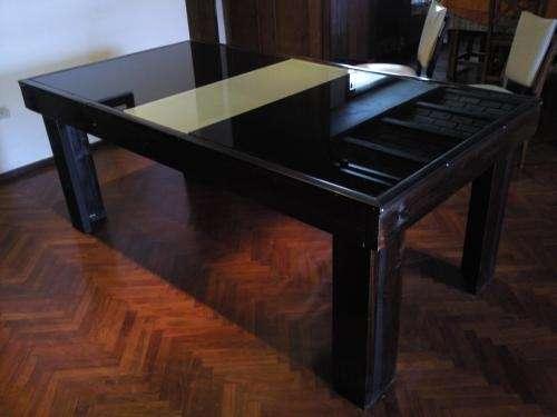 Mesa de comedor de madera lustrada y vidrio en Córdoba - Muebles ...