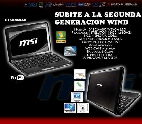 Netbook msi u130 869 cpu 1,66ghz hd 250 1gb nueva san miguel