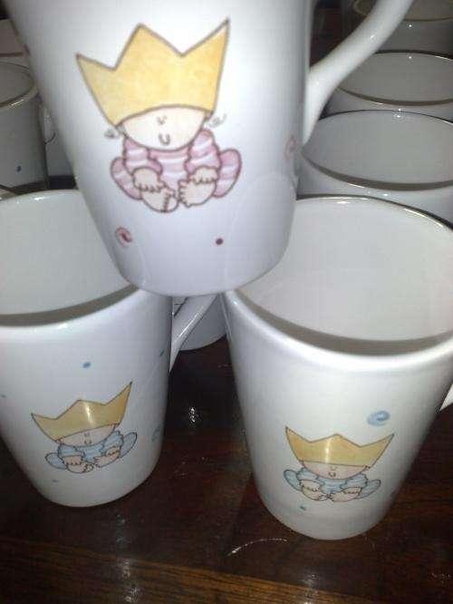 Souvenirs tazas de ceramica pintadas a mano hadas cumpleaños bautismo nacimiento