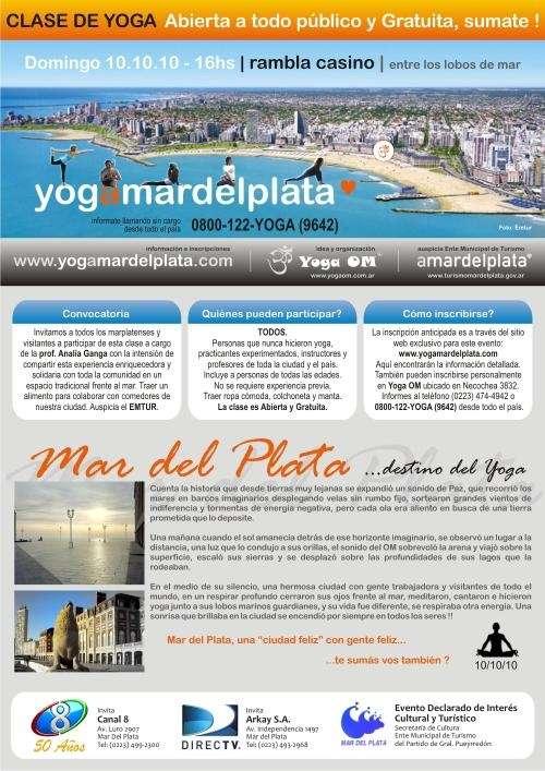 Clase de yoga en mar del plata 10.10.10 abierta y gratuita