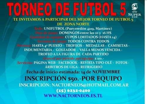 """Torneo de futbol 5 """"ultimas vacantes"""""""