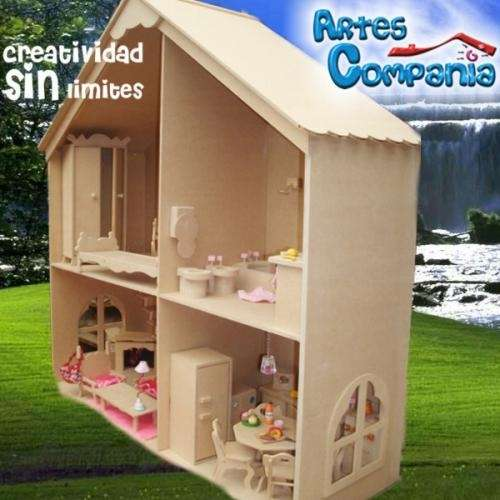 Casa barbie muñecas loft con muebles laqueada