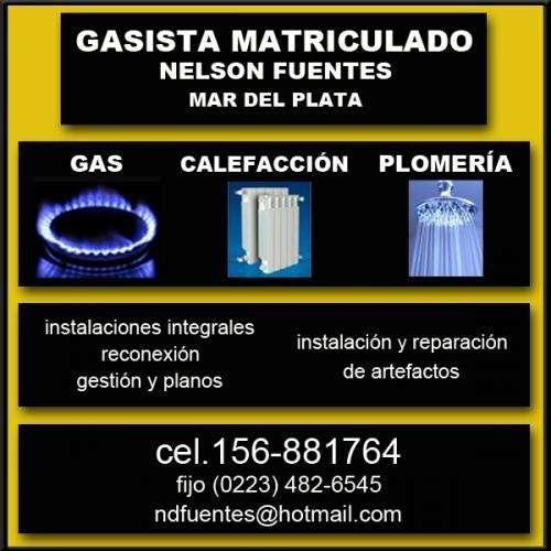 Gas-gasista plomero matriculado-156-881764 fijo 482-6545--mdp-