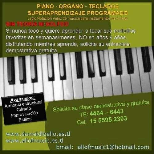 Clases piano y organo sin toeria ni solfeo superaprendizaje programado