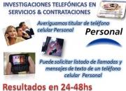 Averiguación de DETALLES de actividades de un teléfono celular de Personal