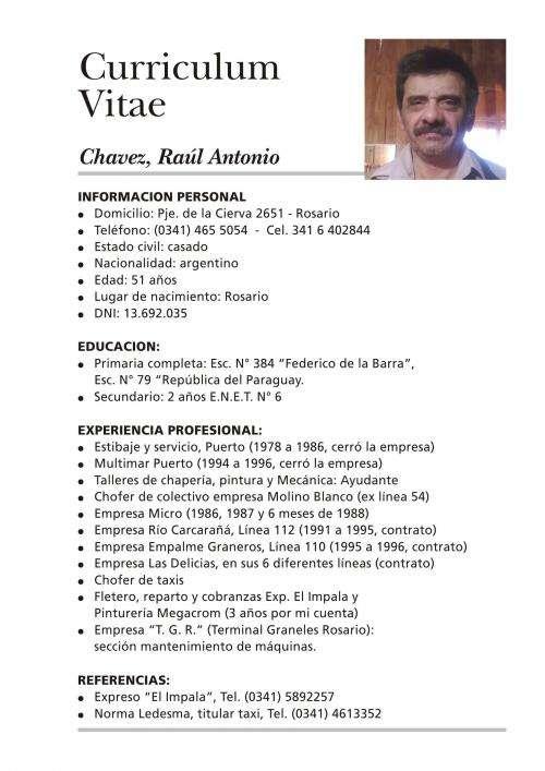 Fantástico Ejemplo De Curriculum Vitae De Taxista Composición ...