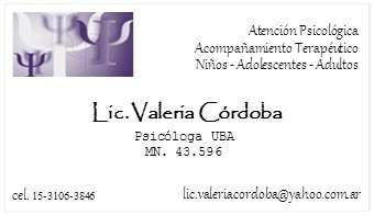 Lic. valeria cordoba - psicologa (mn43596) almagro