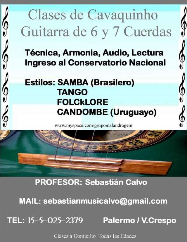Clases de cavaquinho, guitarra de 6 y 7 cuerdas