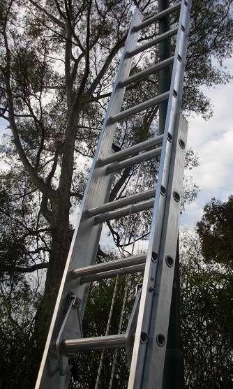 Escalera extensible aluminio reforzada altura 8.10 mts 30 escalones
