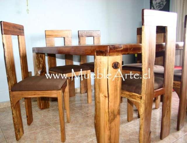 Mesa comedor con 6 sillas rustica.taller artesanal mueblearte