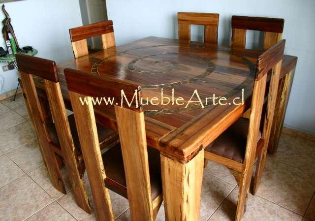 Mesa comedor con 6 sillas rustica.taller artesanal mueblearte en ...