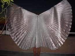 Alas (wings) de lamé doradas o plateadas para danza árabe