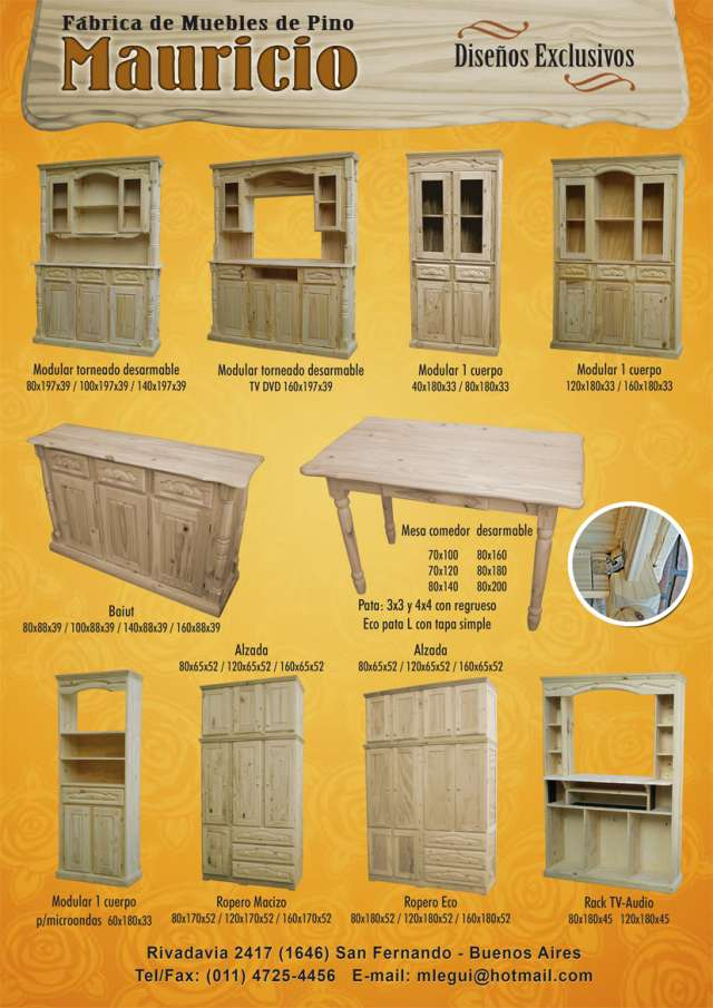 Fabrica de muebles de pino en san fernando en San Fernando - Muebles ...