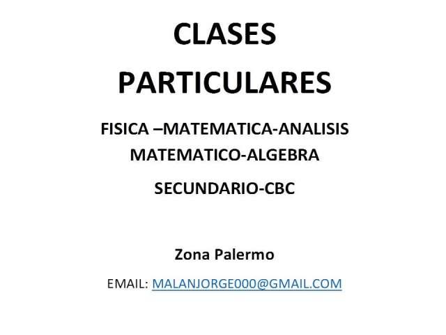 Clases particulares: secundario-cbc