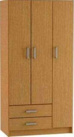 Ropero placard en melamina 3 puertas 2 cajones