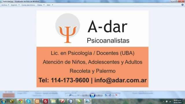 Adar psicoanalistas: atención psicológica niños, adultos y adolescentes