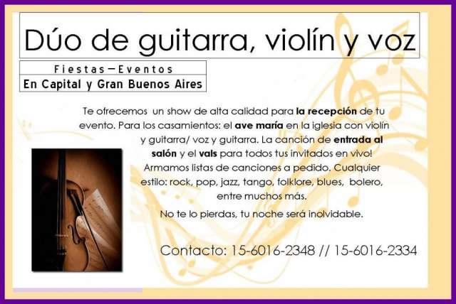 Dúo de violín, guitarra y cantante femenina para tu evento.