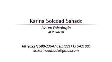 Lic. en psicología karina sahade mp 54228 mn 63372