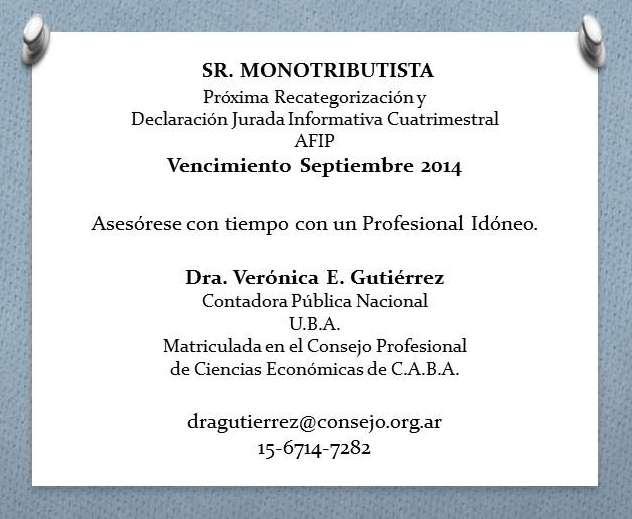 Monotributo - recategorización - declaración jurada informativa - contador público uba
