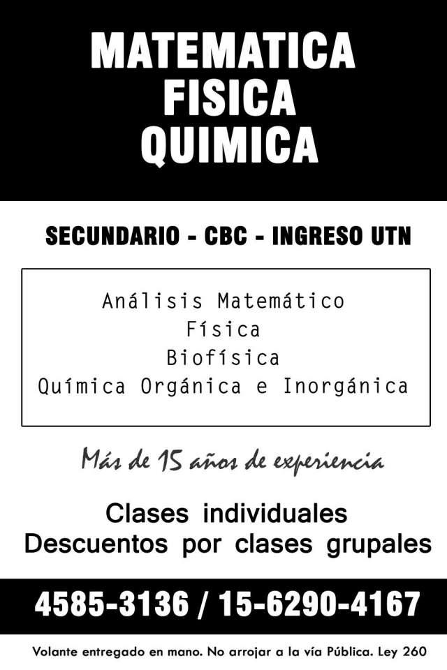 Clases particulares de matematica, fisica y quimica - 1562904167