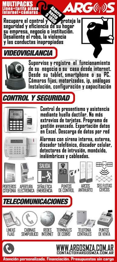 Cctv, alarmas, internet, centrales telefónicas