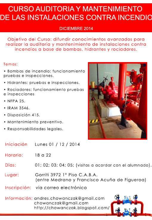 Curso auditoría y mantenimiento de las instalaciones contra incendios
