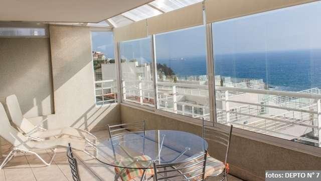 Arriendo euromarina, cochoa, reñaca, terraza, vista mar