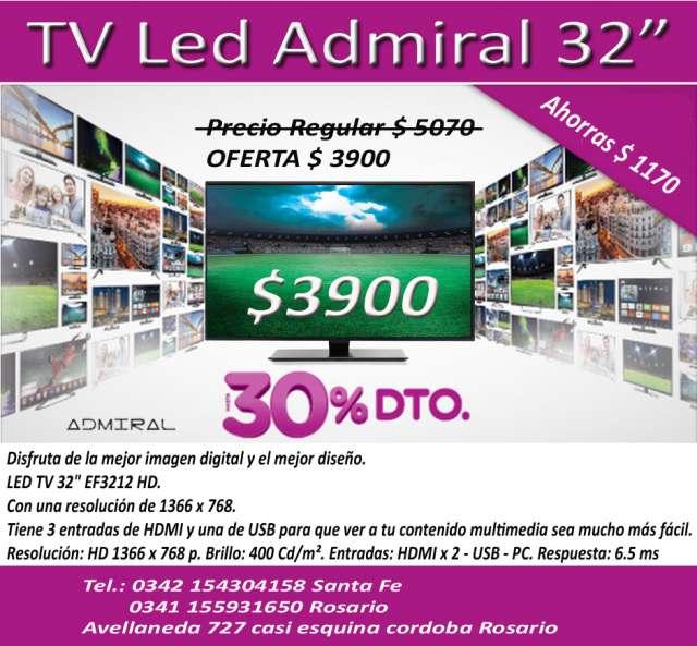 """Tv led 32"""" admiral nuevos en caja."""