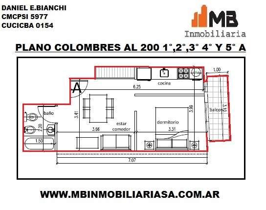 Almagro venta monoamb. en construcción c/balcón colombres al 200 1°a