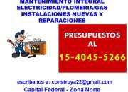 Gas Electricidad Plomeria REPARACIONES para Flores Llamenos 15-4045 5266