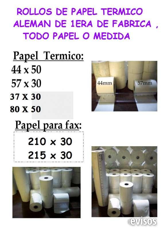 57x30 buje 40 diámetro $8,00 cu rollos de papel térmico para impresoras o balanzas