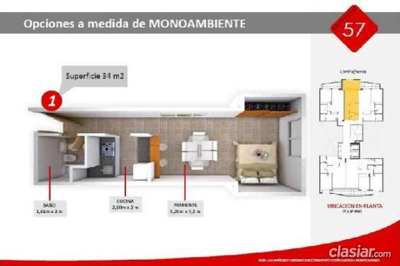 Excelente precio departamento en venta, 34mts, 0 dormitorios 119665 construcción nueva.